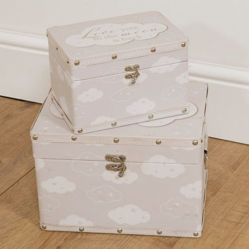 Set of 2 Baby's Storage Boxes 'Love You To The Moon & Back'  Baby Keepsake Chests for Nursery